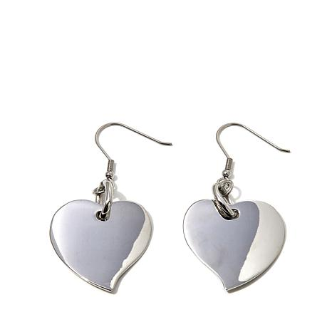 Stately Steel Heart Dangle Earrings