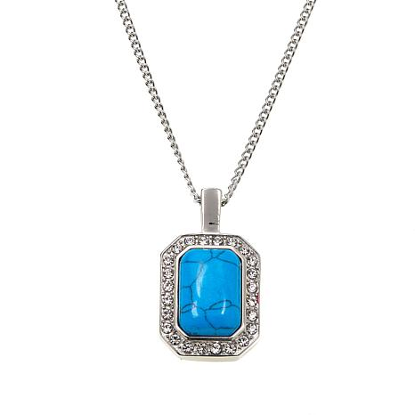 """Stately Steel Howlite and Crystal Octagonal Pendant and 18"""" Chain"""