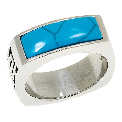 Stately Steel Howlite Etched Band Ring