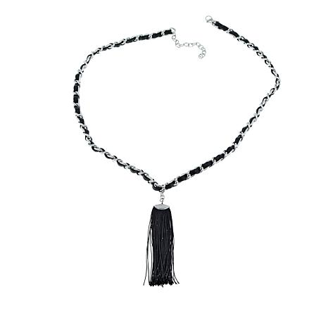 "Stately Steel Leather-Threaded Cable-Chain 25-1/2"" Tassel Necklace"