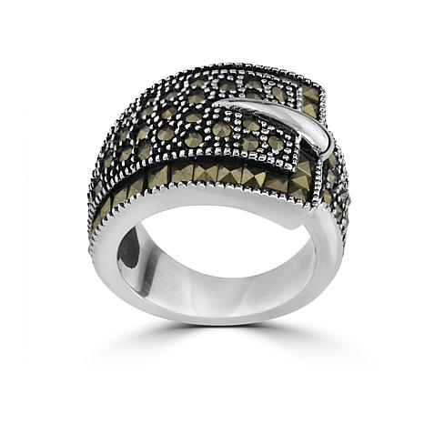 Stately Steel Marcasite Buckle Ring