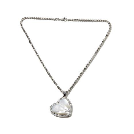 Stately Steel Mother-of-Pearl Crystal Heart Pendant