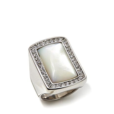 Stately Steel Mother-of-Pearl Crystal Rectangular Ring