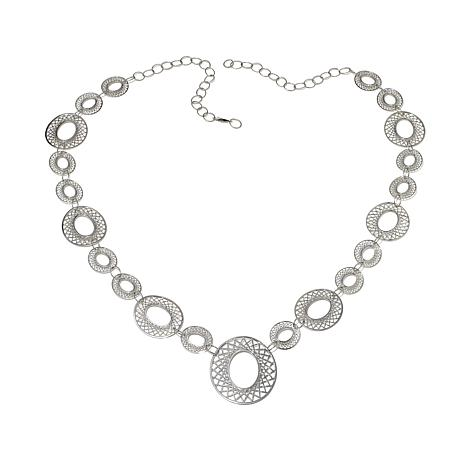 Stately Steel Multi Oval Filigree Station Necklace