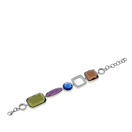 "Stately Steel Multi-Shape Glass Charm 6-3/8"" Bracelet"