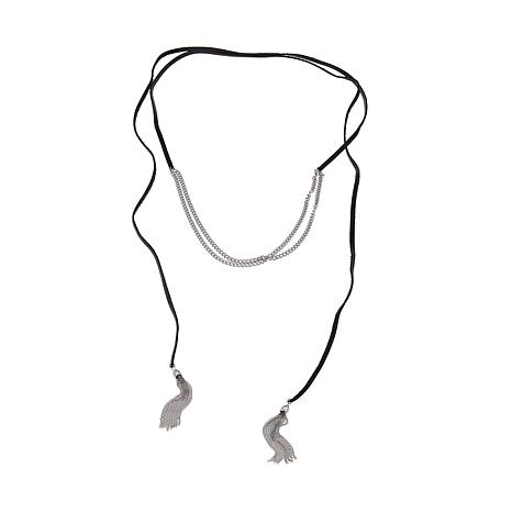 "Stately Steel Multiple Wrap Fringe Ends 70"" Necklace"