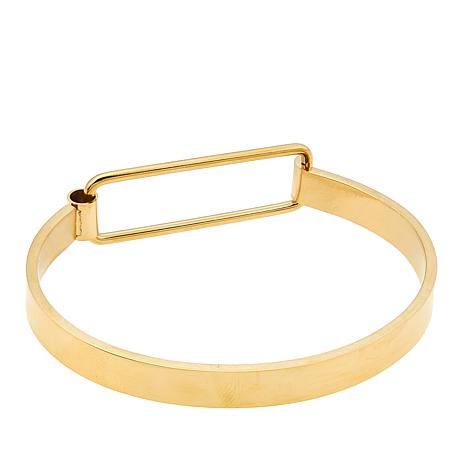 Stately Steel Negative-Space Bangle Bracelet