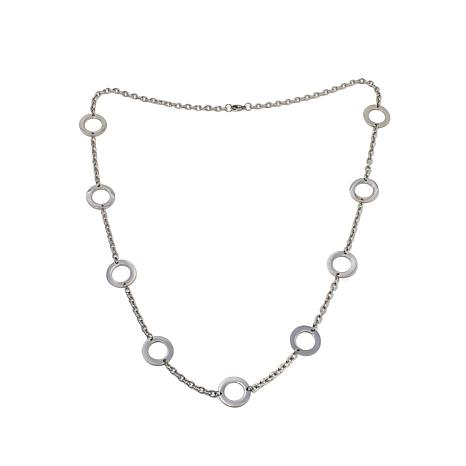 "Stately Steel Open Circle Station 30-1/8"" Necklace"