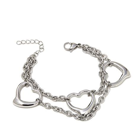 "Stately Steel Open-Heart Double-Chain 7-1/4"" Bracelet"