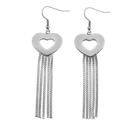 Stately Steel Open Heart Tassel Drop Earrings