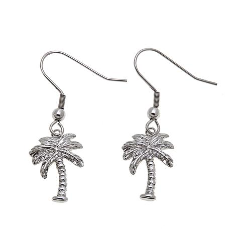 Stately Steel Palm Tree Drop Earrings