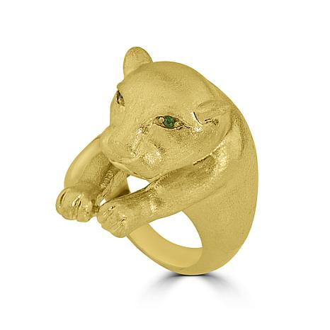 Stately Steel Panther Ring