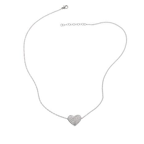 "Stately Steel Pavé Crystal Heart 17-3/4"" Necklace"