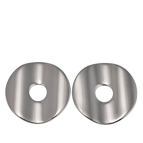 Stately Steel Polished Disc-Shaped Stud Earrings