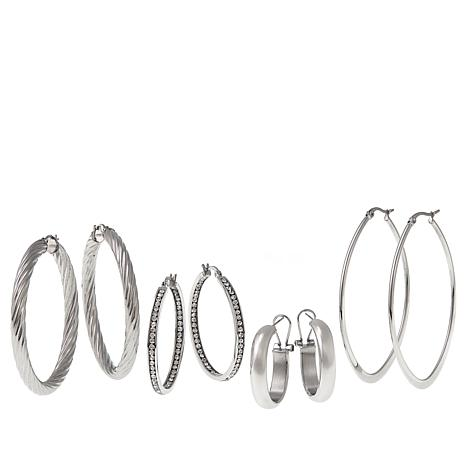 Stately Steel Set of 4 Pairs of Hoop Earrings