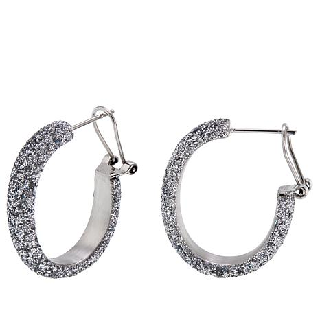 "Stately Steel Sparkle Finish 1-3/16"" Hoop Earrings"