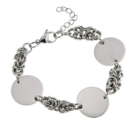 Stately Steel Stainless Steel Disc Station Link Bracelet