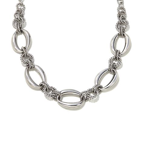 Stately Steel Stainless Steel Oval-Link Chain Necklace