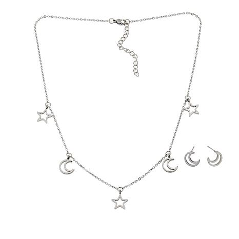 Stately Steel Star and Moon Necklace and Stud Earring Set