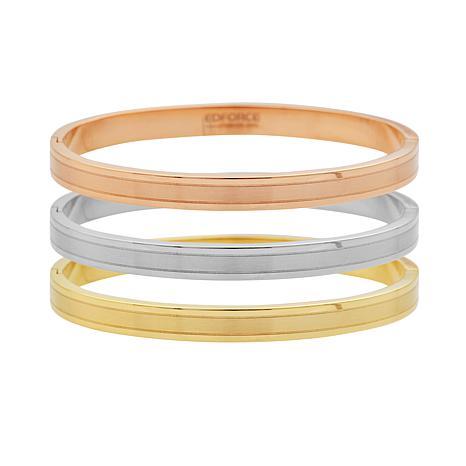 Stately Steel Tri-Color 3-piece Bangle Set