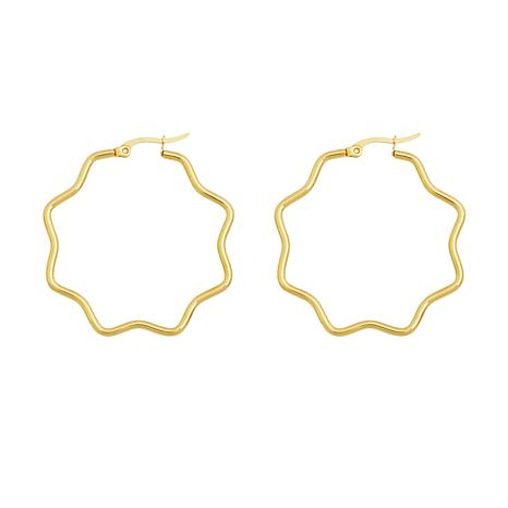 """Stately Steel Wavy Hectogram Hoop Earrings - 1-9/16"""""""