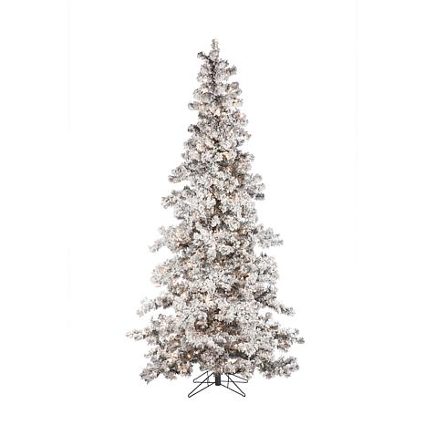 sterling 7 12 flocked spruce lighted christmas tree