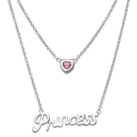"Sterling Birthstone Crystal Heart ""Princess"" Necklace"