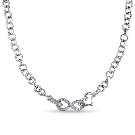 Sterling Silver .10ctw Diamond Infinity Heart Necklace