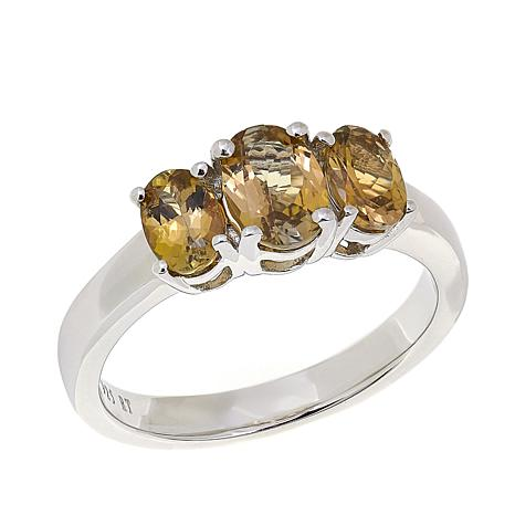 Sterling Silver 1.5ctw Golden Yellow Zoisite 3-Stone Ring