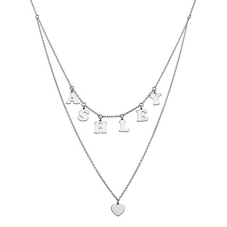 Sterling Silver 2-Row Dangle Name and Heart Necklace
