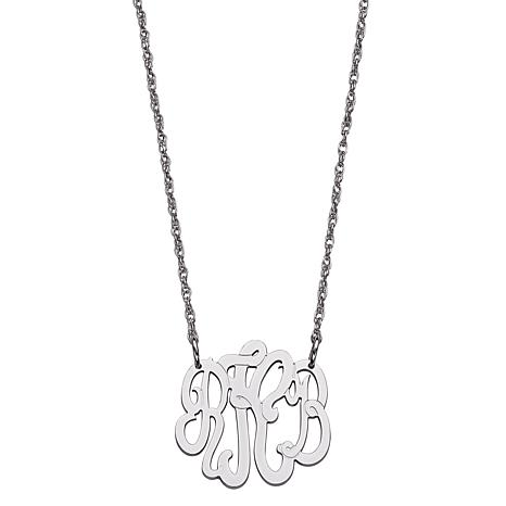 Sterling Silver 3-Initial Script Monogram Necklace - Small