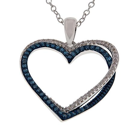 Sterling Silver .35ctw Blue and White Diamond Heart Pendant