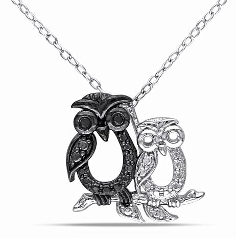 Sterling Silver and Black Diamond Owl Pendant