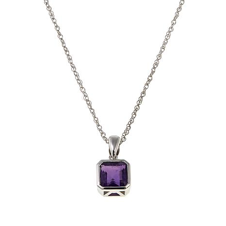 "Sterling Silver Asscher-Cut Pendant with 18"" Chain"