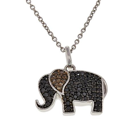 Sterling Silver Champagne and Black Diamond Elephant Pendant