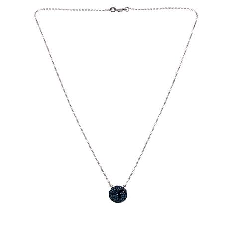 "Sterling Silver Colored Diamond Circle Drop 18"" Necklace"