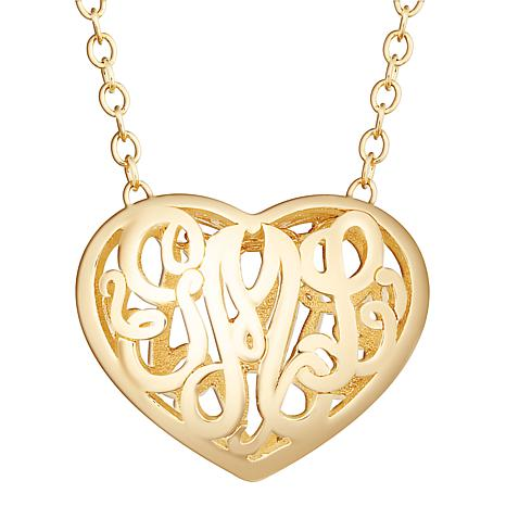 Sterling Silver Double Sided 20x16mm Heart Monogram Pendant Necklace