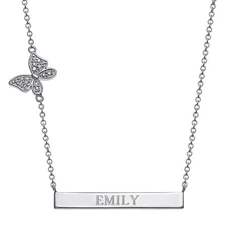 Sterling Silver Engraved Bar Necklace with Charm Accent