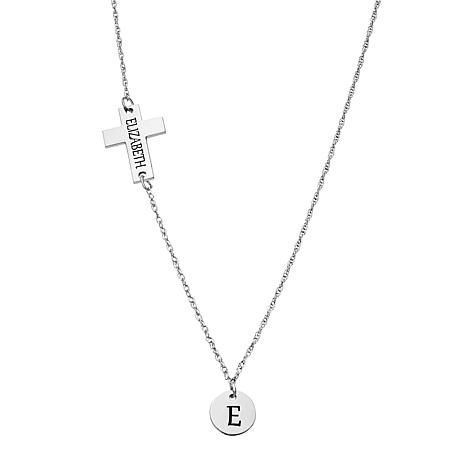 """Sterling Silver Engraved Cross and Disc 20"""" Necklace"""