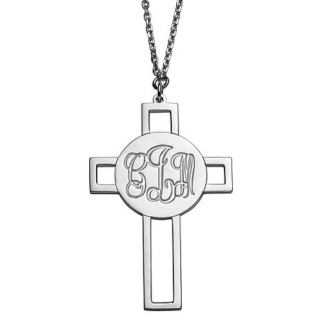 Sterling Silver Engraved Monogram Cross Necklace