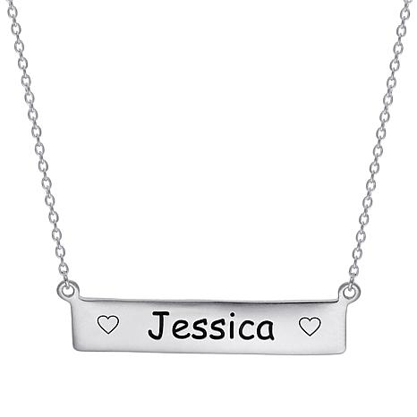 "Sterling Silver Engraved Name with Hearts 16-1/2"" Bar Necklace"
