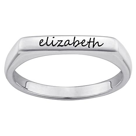 Sterling Silver Engraved Rectangular Stackable Ring