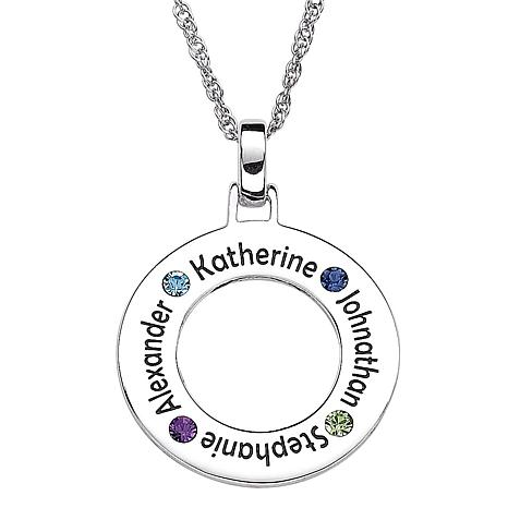 Sterling Silver Family Name & Birthstone Disc Necklace