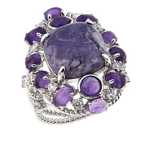 Sterling Silver Fluorite, Amethyst and White Zircon Ring