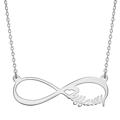"Sterling Silver Infinity Drop 17"" Name Necklace - Side"