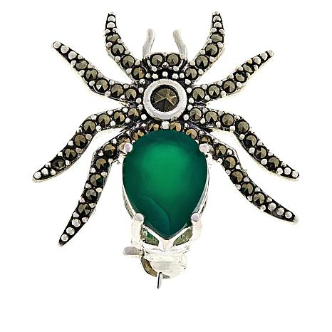 Sterling Silver Marcasite and Green Agate Spider Pin