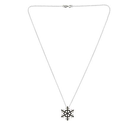 """Sterling Silver Marcasite """"Snowflake"""" Pendant with 18"""" Chain"""