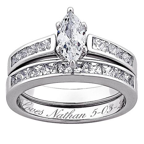 Delightful Sterling Silver Marquise CZ 2 PC Engraved Wedding Ring Set