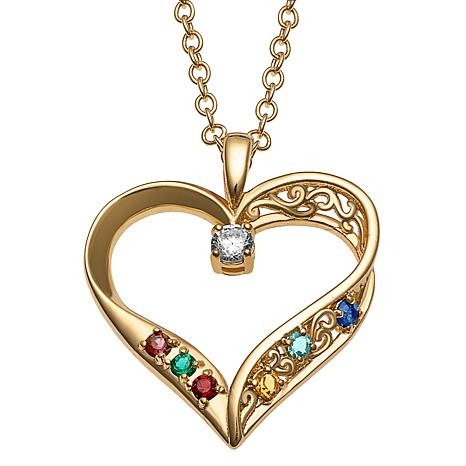 Sterling Silver Mother's Birthstone Family Heart Pendant