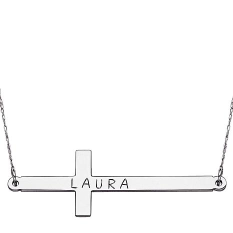 Sterling Silver Name Cross Necklace